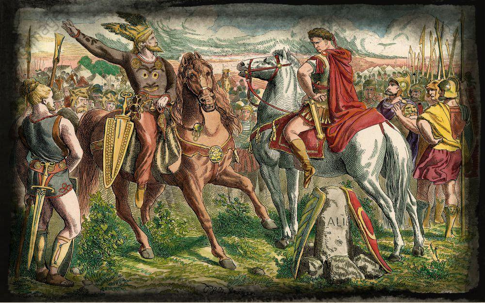 Caesar and Ariovistus (meeting before the battle) by Johann Nepomuk Geiger.jpg