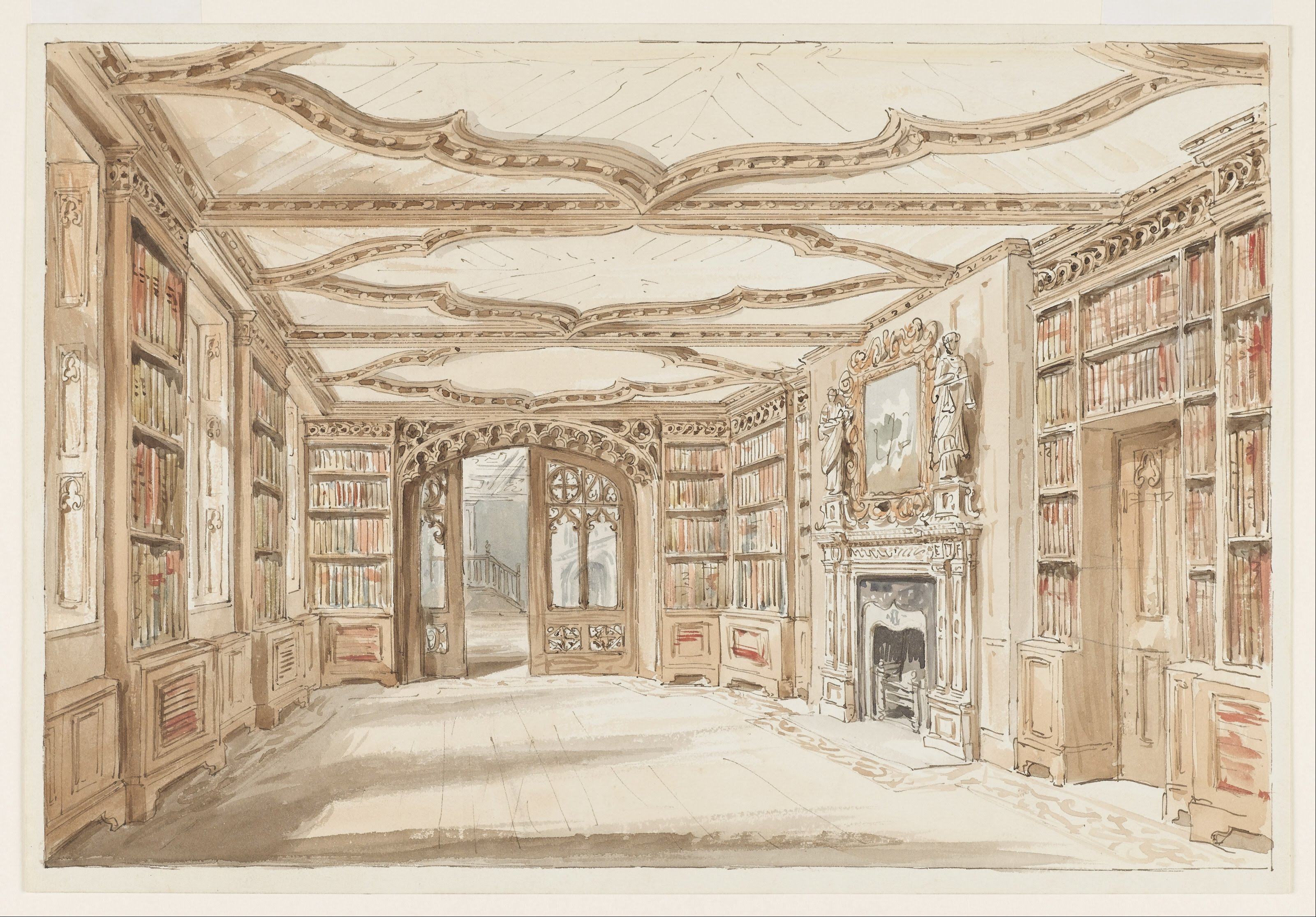 Gothic Style Interior file:charles james richardson - interior view of a library in