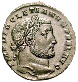 A Roman follis depicting the profile of Diocletian