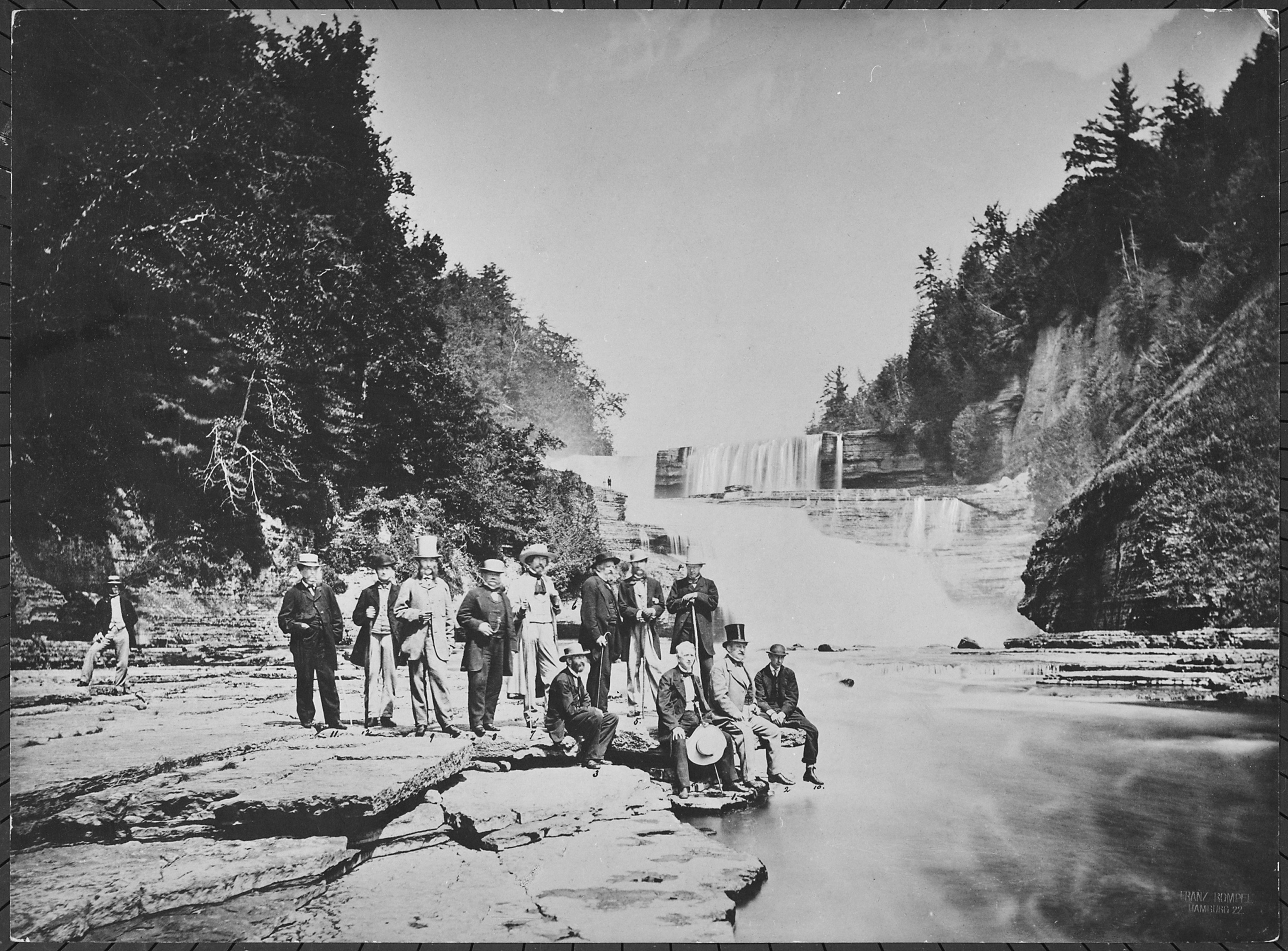 Diplomats at the foot of an unidentified waterfall, New York State, 08-1863 - NARA - 518056.jpg