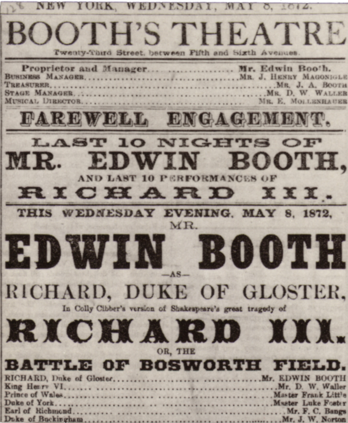 file edwin booth richard iii playbill jpg  file edwin booth richard iii playbill 1872 jpg