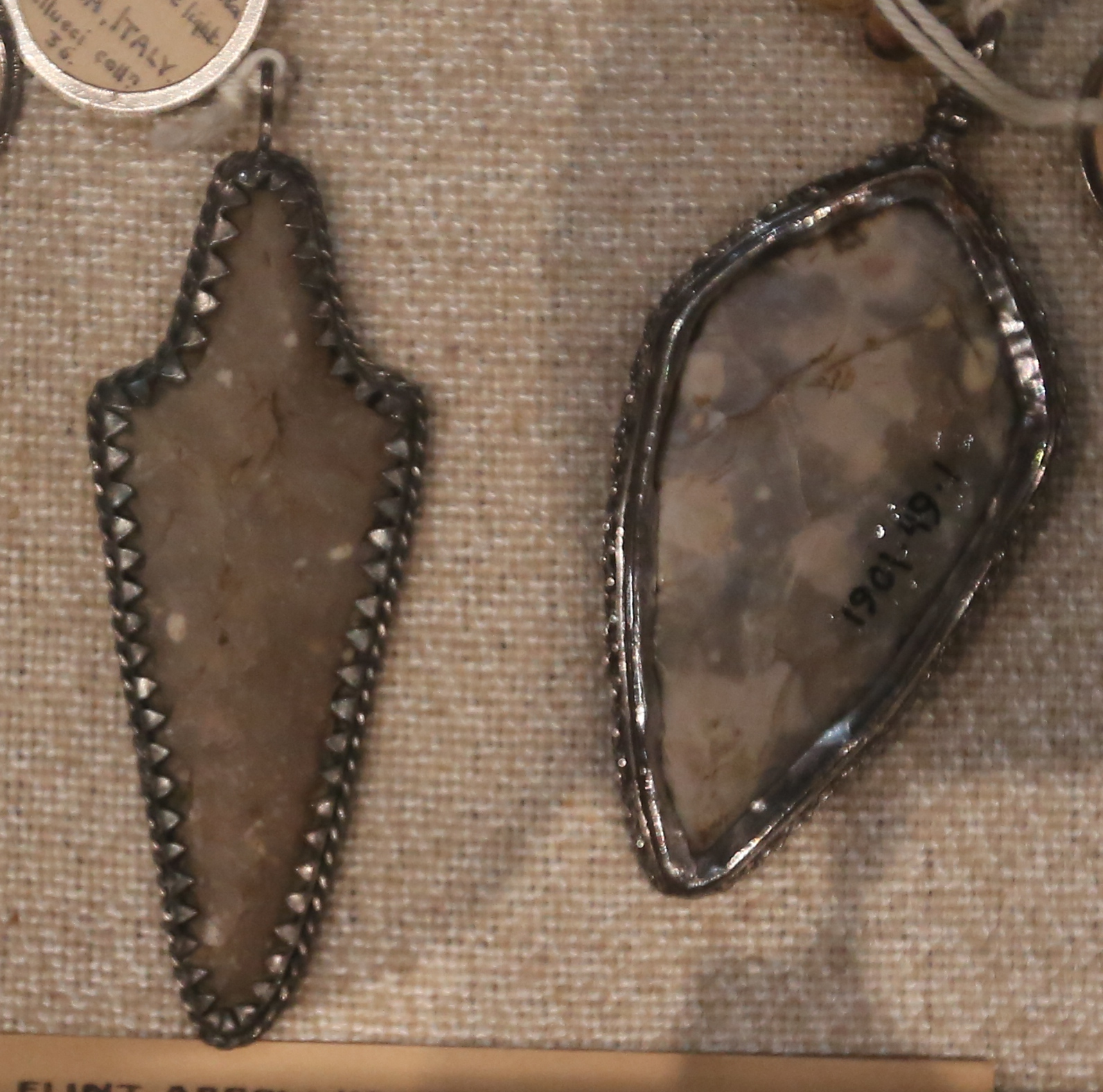 A pair of prehistoric arrowheads, believed by Old English medicine practitioners to be evidence of 'elf-shot'.