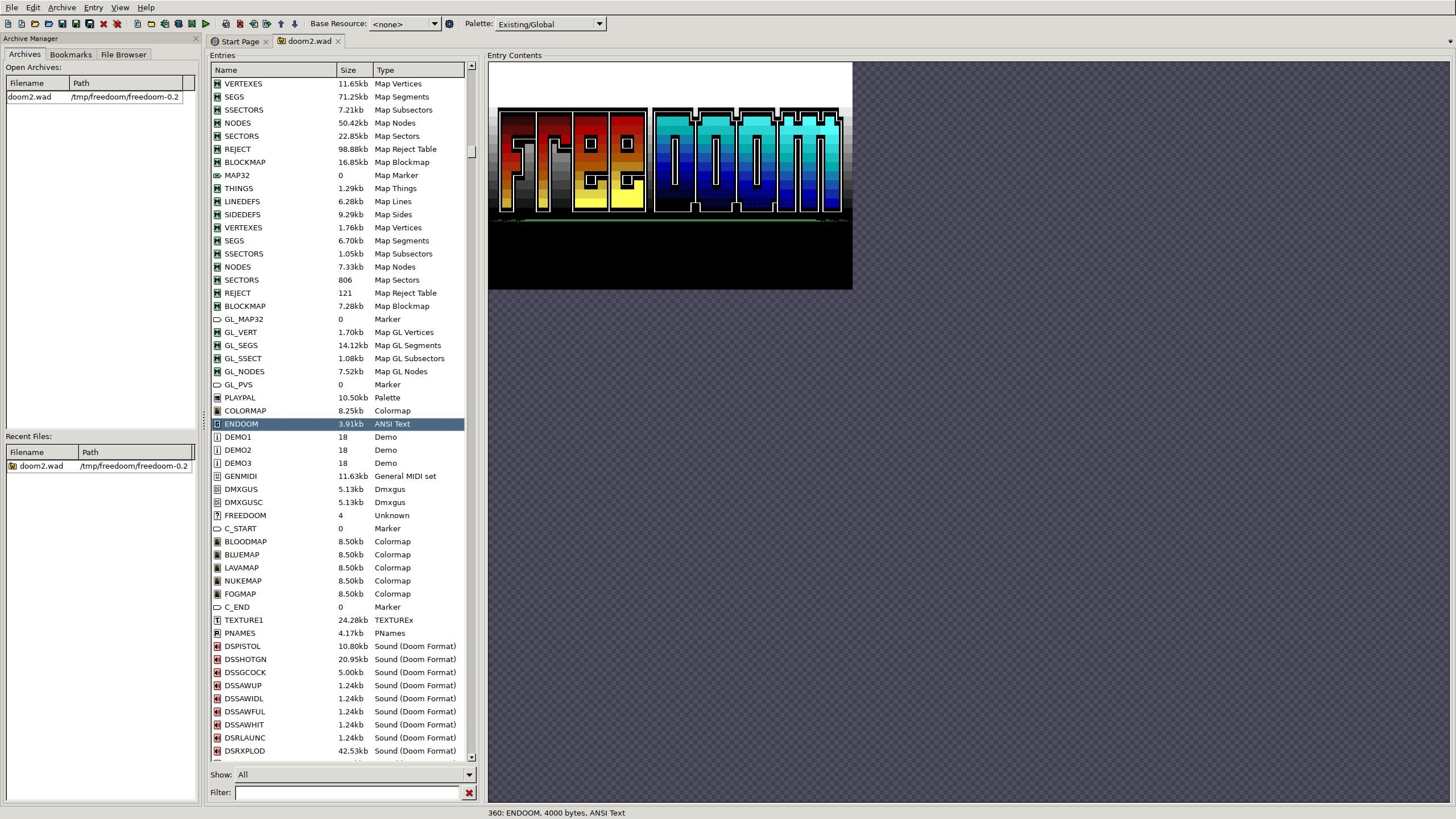 File:Freedoom v0 2 ENDOOM opened in SLADE v3 1 1 5 png
