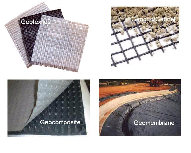 A collage of geosynthetic products.