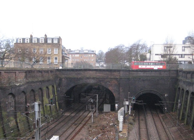 Gospel Oak, Southampton Road railway bridge and tunnel - geograph.org.uk - 1727411
