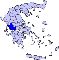 Location of Aetolia-Acarnania Prefecture in Greece