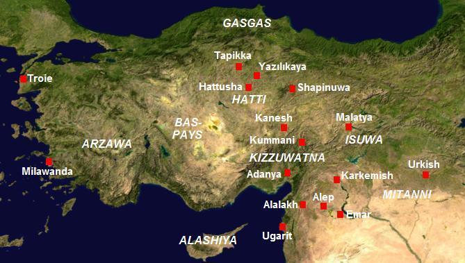Hattuşaş'ın konumu ve Anadolu'daki Başlıca Hitit yerleşim brimleri.