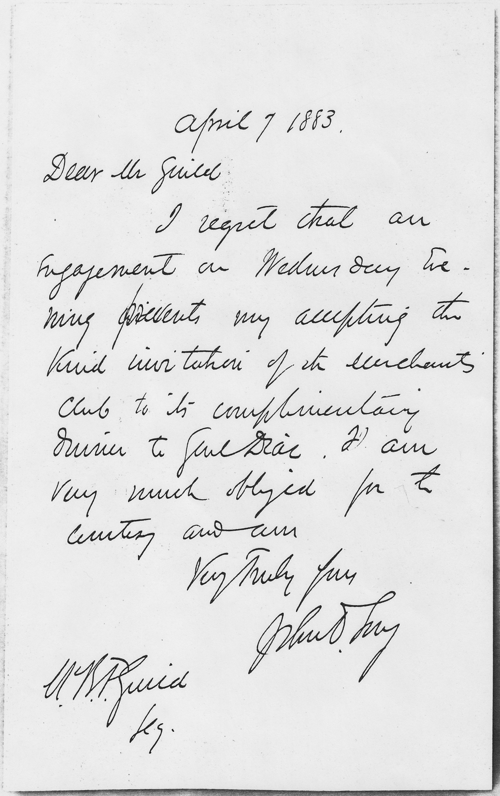 File:John D. Long Letter to B. F. Guild April 7, 1883   NARA