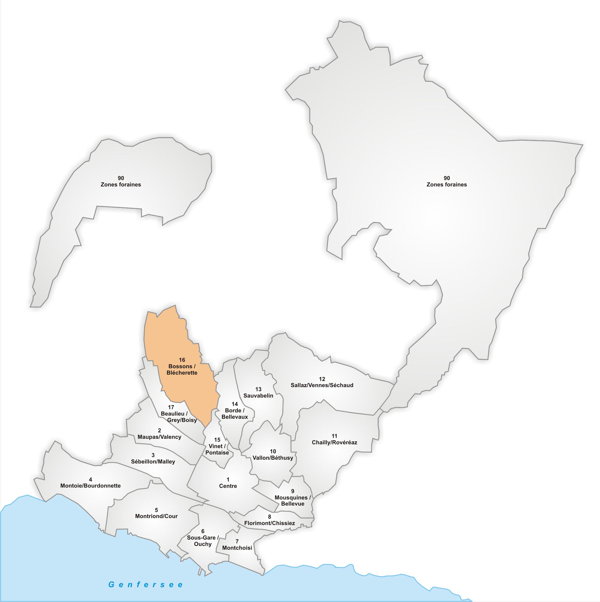 Lage des Stadtteils Bossons/Blécherette