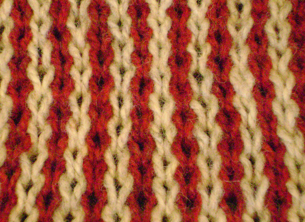 Knitting wales slip stitch