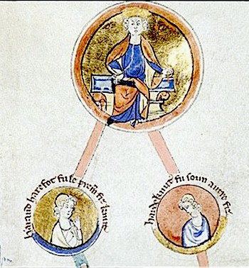 Cnut, king of England, Denmark, and Norway, and his sons Harald Harefoot and Harthacnut Knut syni.jpg