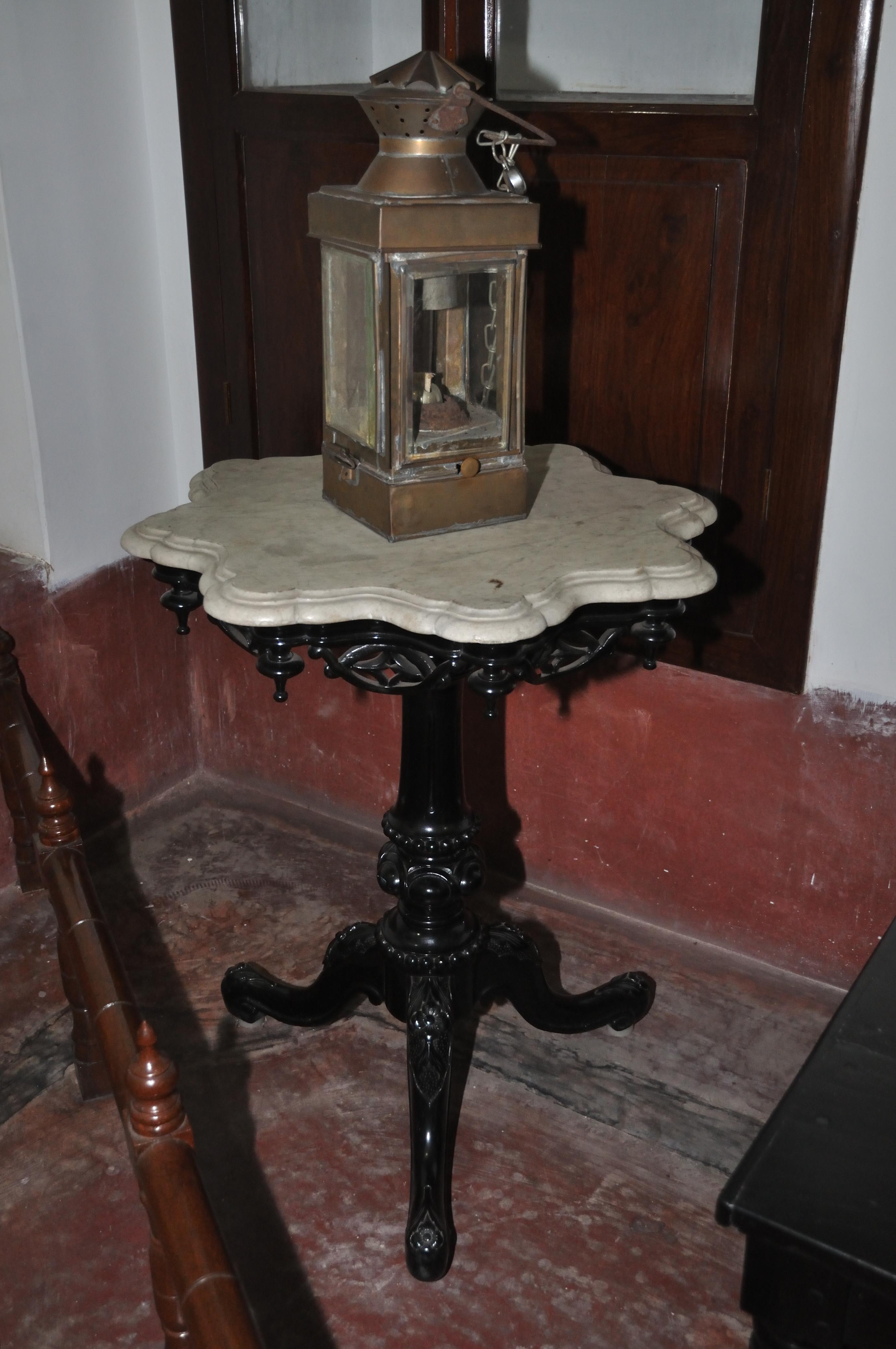 Filelamp with single pedestal table durgaprasad duttas room ground floor swami