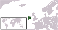 Location of Southern Ireland in northern Europe.