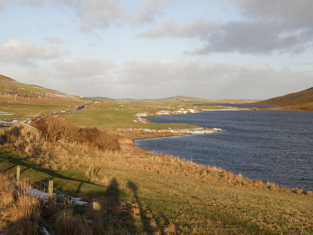Loch of Asta Loch of Asta with the B9074, Scalloway to Tingwall road, to the left.