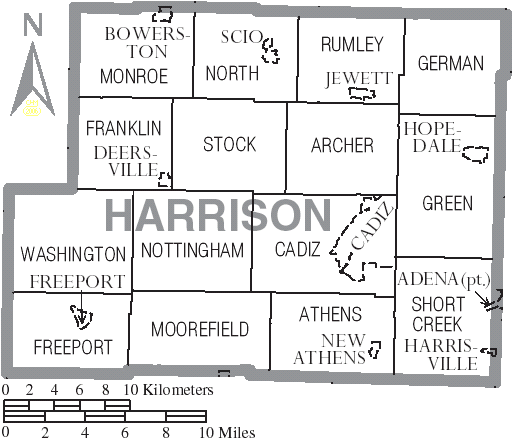 File Map Of Harrison County Ohio With Municipal And Township Labels