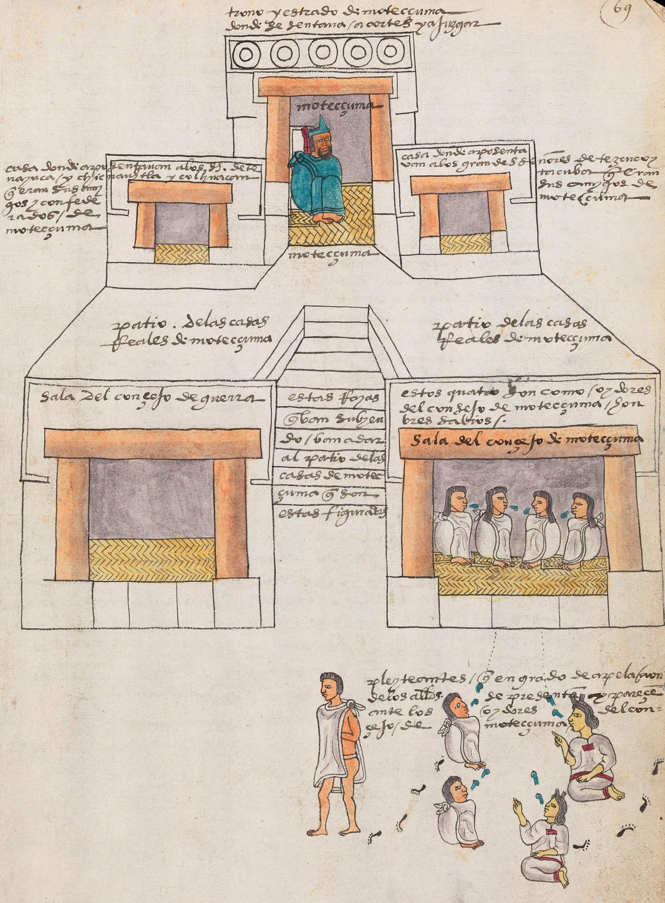 Codex Mendoza, rysunek pałacu, Moctezuma palace
