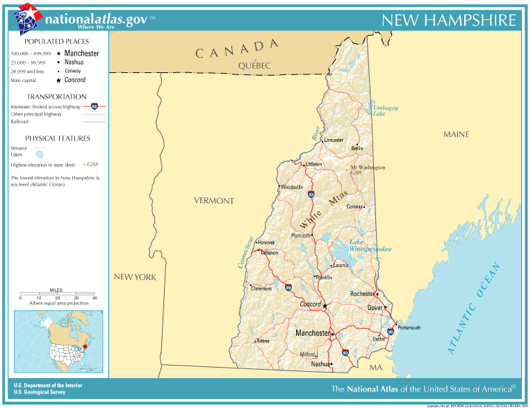 Geology Of New Hampshire Wikipedia - New hampshire cities and towns map