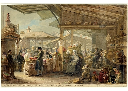 George Johann Scharf's illustration of the market before Fowler's hall was built in 1830 Old-Covent-Garden-Market,-1825.jpg