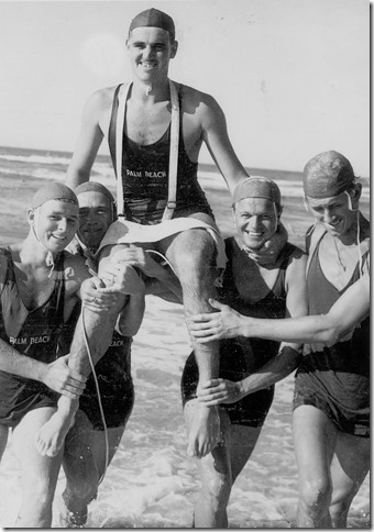 Palm Beach Qld Surf Life Saving Club - Chairing Maurie Webb after his first place in the Queensland belt swim championships 1948 - Photo Kerry Webb