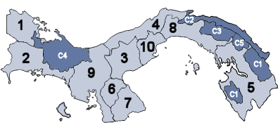 Panamá Provincias and Comarcas numbered.png
