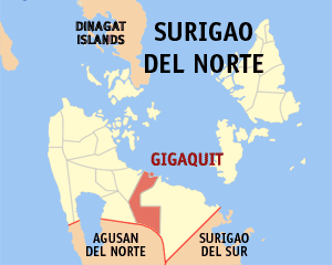 Map of Surigao del Norte showing the location of Gigaquit
