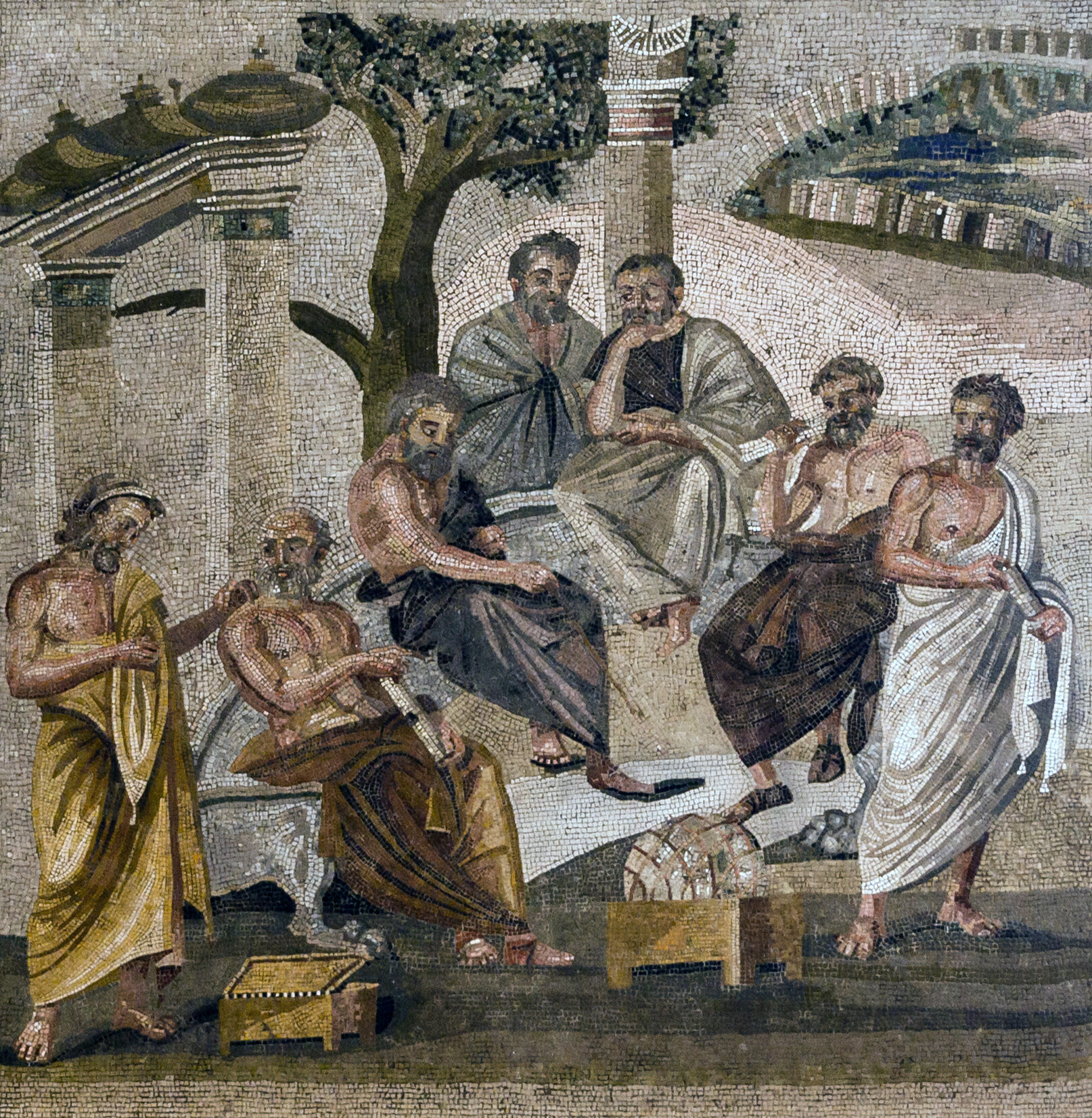 Mosaic from Pompeii depicting the Academy of Plato Plato's Academy mosaic from Pompeii.jpg