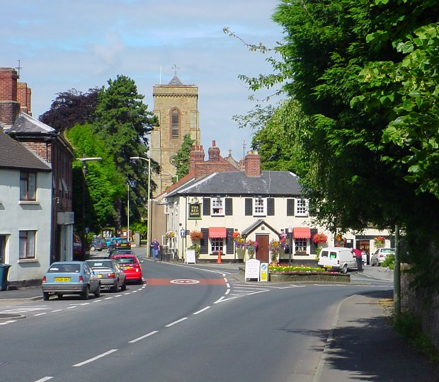 Pontesbury - Red Lion Inn and St Georges Church - geograph.org.uk - 411232