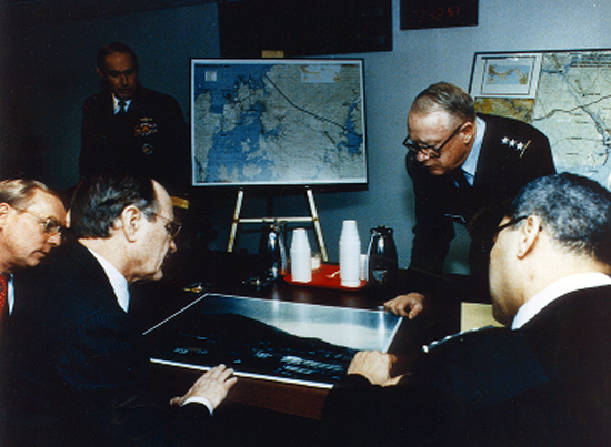 President George H.W. Bush being briefed by DIA during the US invasion of Panama President George H. W. Bush being briefed by the Defense Intelligence Agency (DIA) 1989.jpg