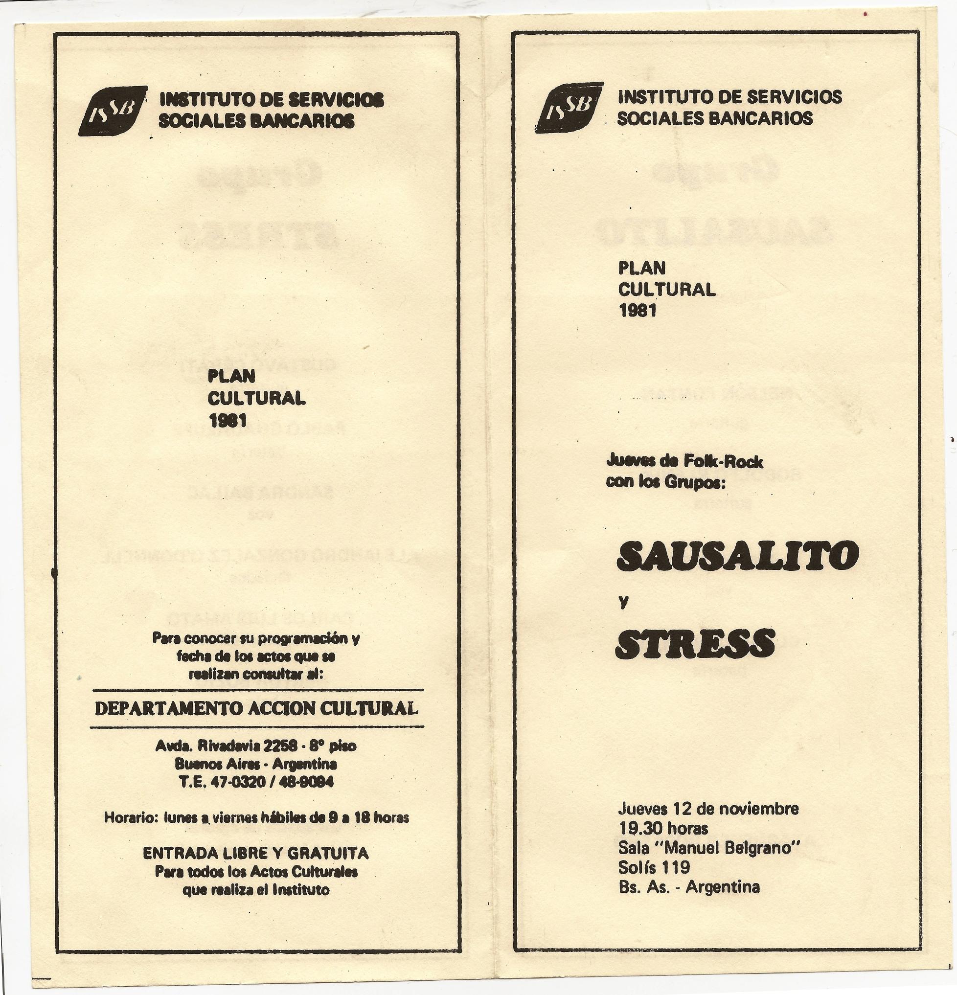 Programa del 12 de noviembre de 1981 del Grupo Stress con Gustavo Cerati, Pablo Guadalupe, Sandra Baylac, Alejandro O'Donell, Carlos Amato y Zeta Bosio.