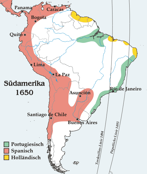 The meridian to the right was defined by Inter caetera, the one to the left by the Treaty of Tordesillas. Modern boundaries and cities are shown for purposes of illustration. - Inter caetera