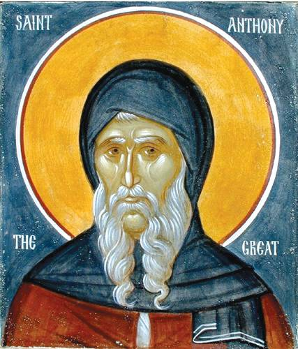 Icon of Saint Anthony the Great, the founder of Christian monasticism