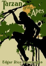 Color cover of the book Tarzan of the Apes, written by Edgar Rice Burroughs