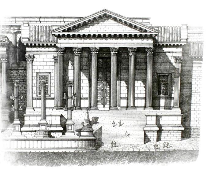 Reconstitution du temple de la Concorde sur le Forum de Rome d'après F. Corni. Image de Cassius Ahenobarbus