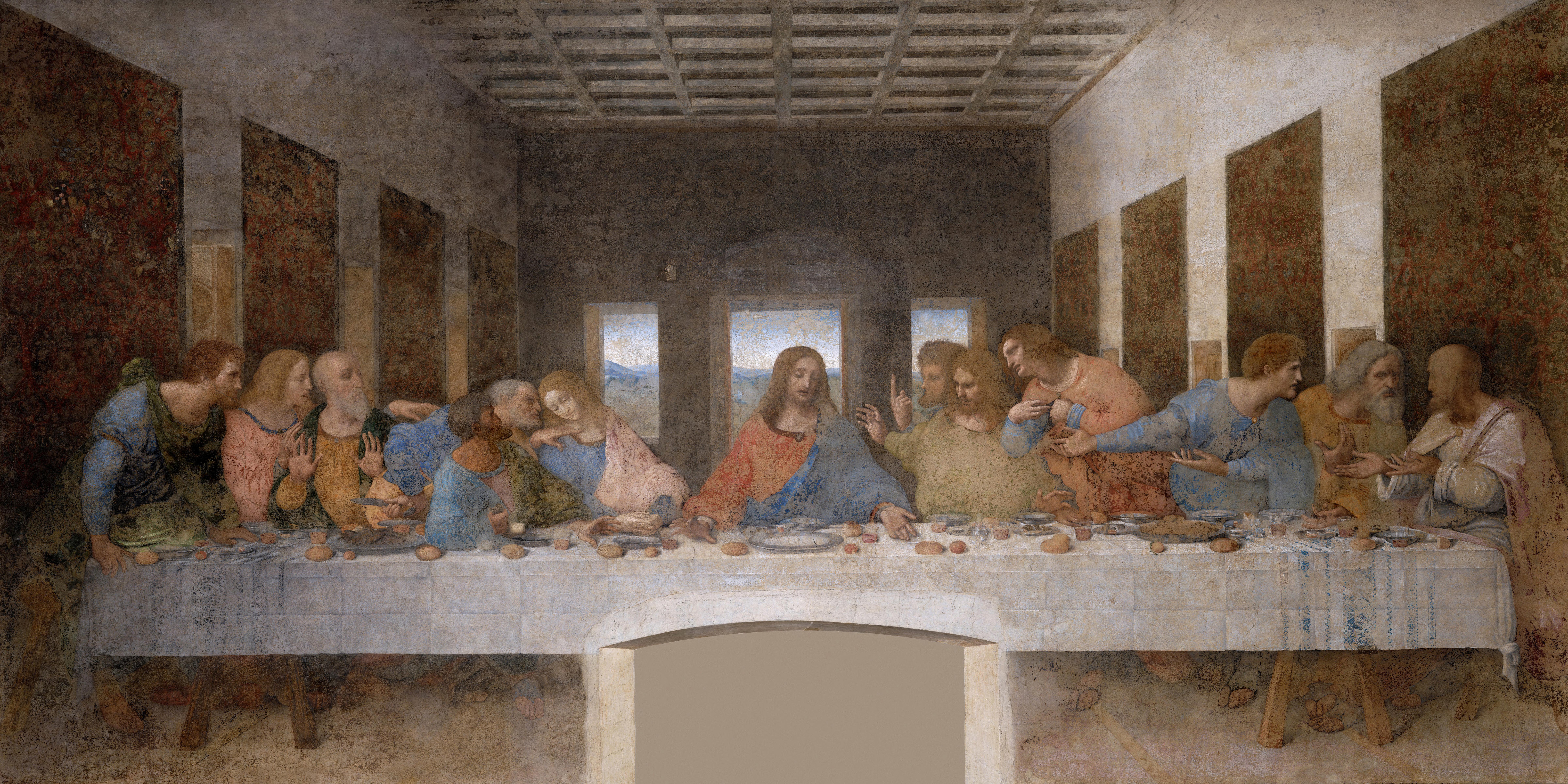 Leonardo da Vinci, The Last Supper, 1495–1498. Tempera on gesso, pitch and mastic. Santa Maria delle Grazie, Milan.