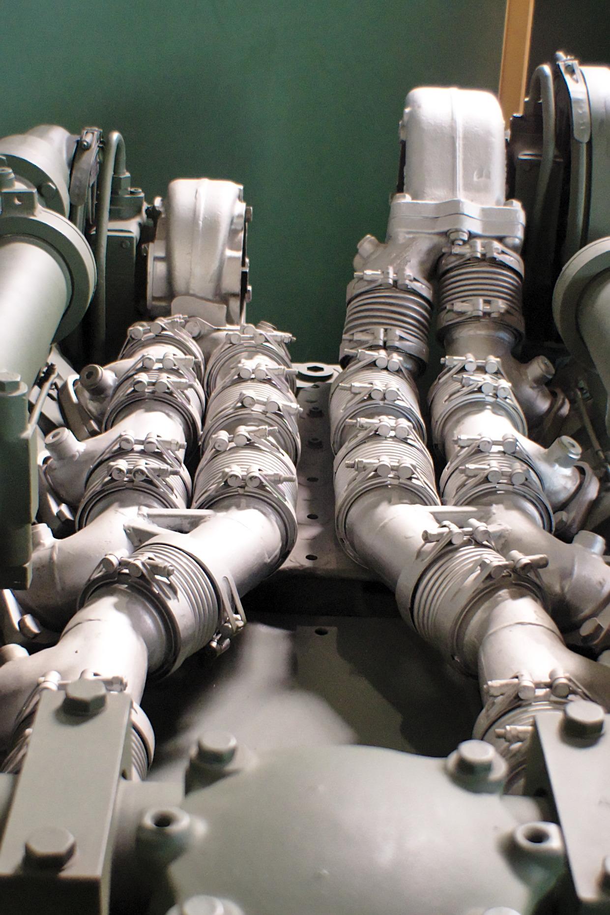 File:Turbocharger installation of a modern MTU V12 Tank