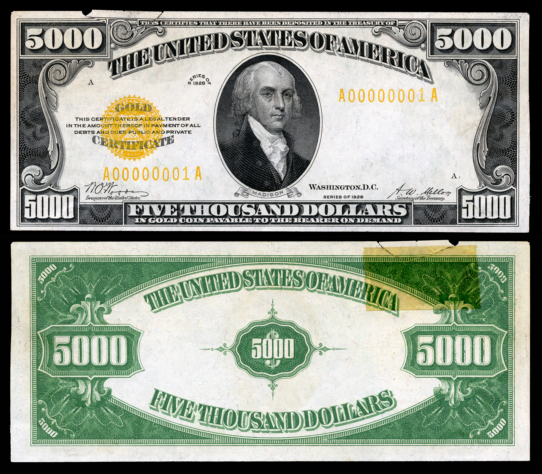 Gold certificate wikipedia 5000 gold certificate series 1928 fr2410 depicting james madison xflitez Gallery