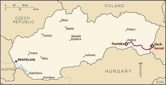 Trať na mapě Slovenska