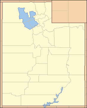 "Map of Utah divided into its 29 counties, each labeled with two letters. The most northwestern county is labeled ""BE""."