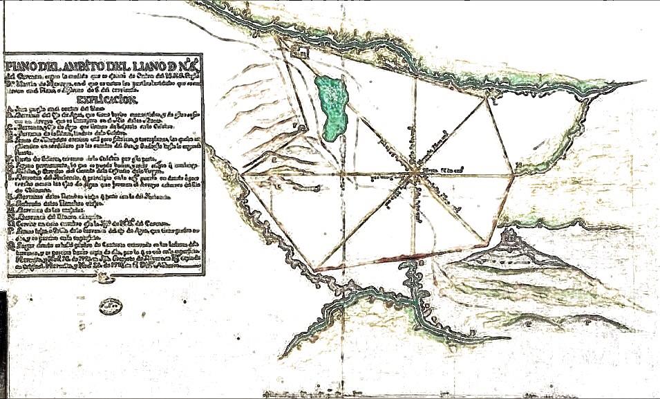 Plano del Valle de la Ermita antes de la construcción de la Ciudad de Guatemala. Wikimedia Commons.