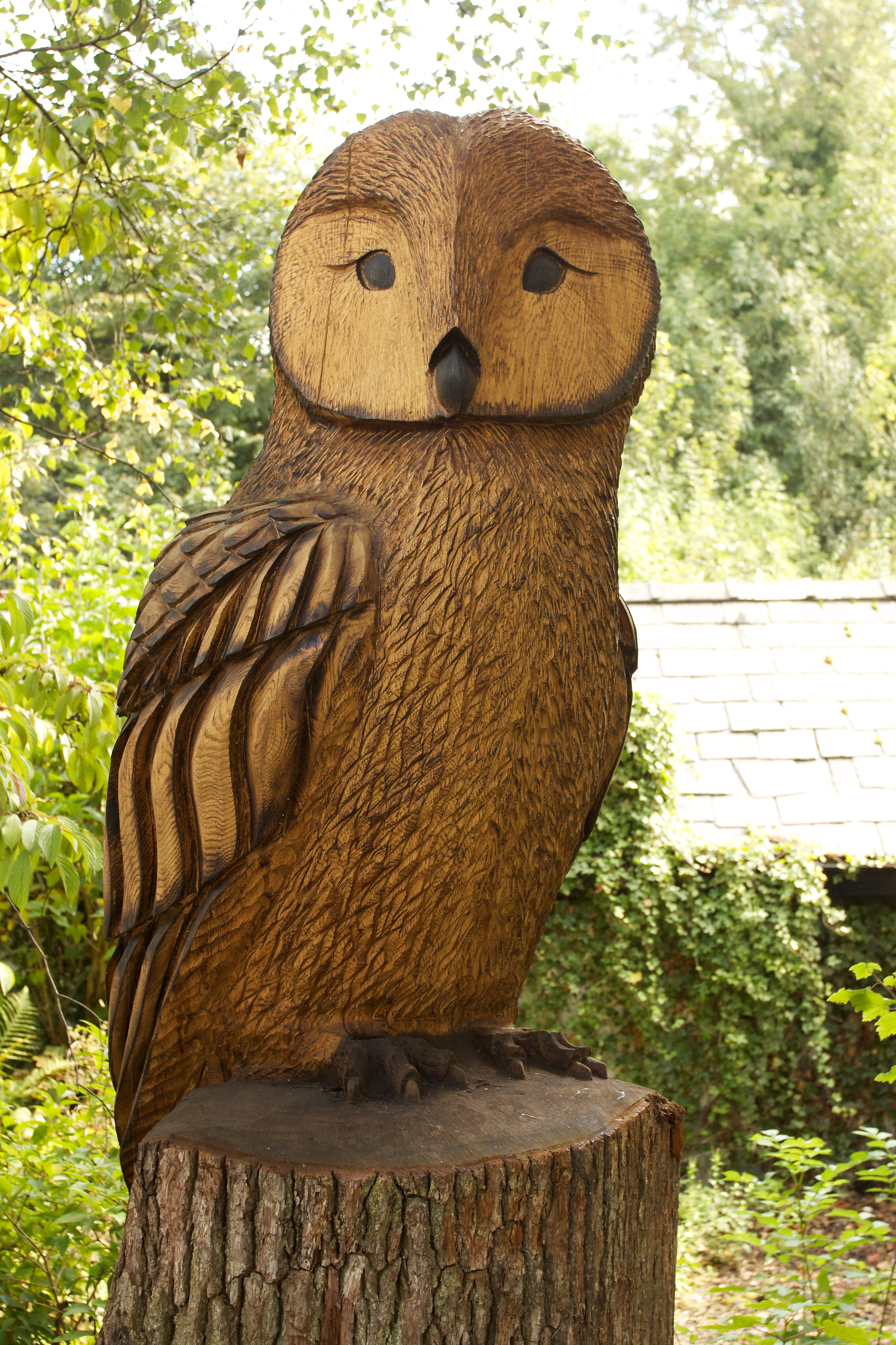 File wooden owl carving at prestbury station g wikimedia commons