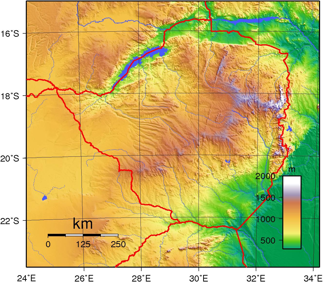 Topographic Map Zimbabwe.Vaizdas Zimbabwe Topography Png Vikipedija