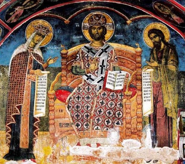 File:Фреска од Св. Никола Топлички на Христос, Богородица и Јован Претеча.jpg