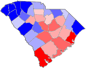 1876 South Carolina gubernatorial election map, by percentile by county.   65+% won by Hampton   60%-64% won by Hampton   55%-59% won by Hampton   50%-54% won by Hampton   50%-54% won by Chamberlain   55%-59% won by Chamberlain   60%-64% won by Chamberlain   65+% won by Chamberlain