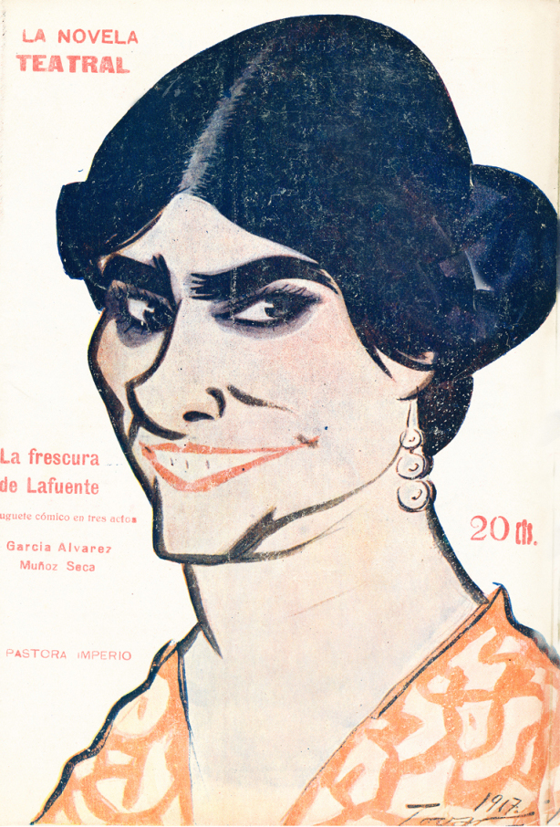 Caricature de la danseuse de flamenco de Pastora Imperio par Manuel Tovar Siles.