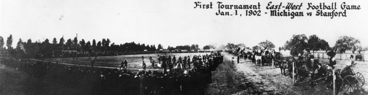 Panoramic shot of 1st Rose Bowl Game, held in 1902 at Tournament Park