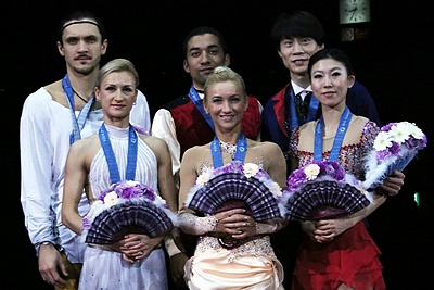 Tatiana Volosozhar and Maxim Trankov held the four highest short program scores ever given. They had scored more than 80 points seven times, and at least 83 points four times.