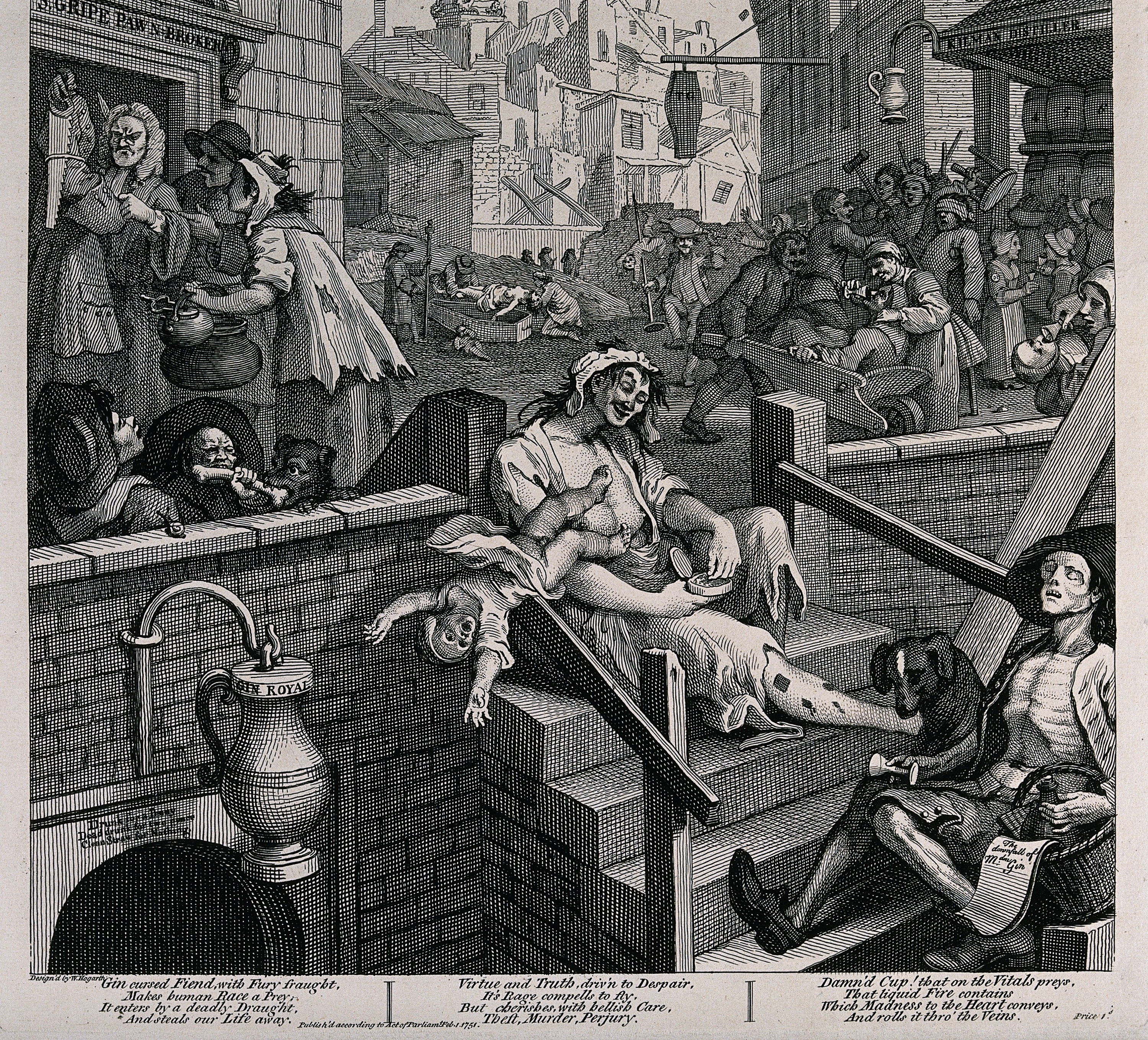 Image result for Gin Lane, london, 1776