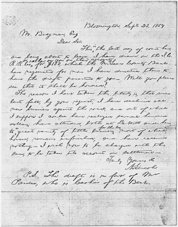 fileabraham lincoln letter to mr brayman september 23 1854 nara
