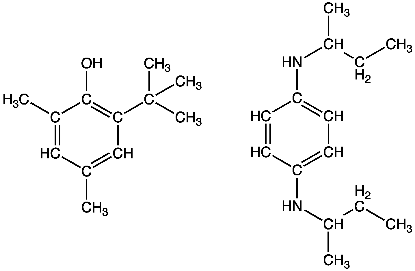 Substituted phenols and derivatives of phenylenediamine are common antioxidants used to inhibit gum formation in gasoline (petrol).