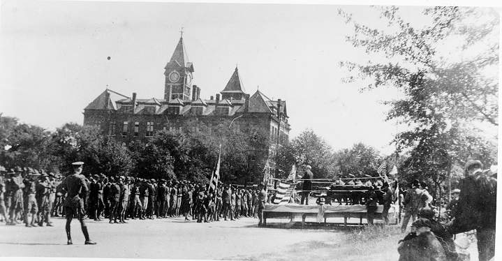 API Cadets drill on Ross Square in 1918.